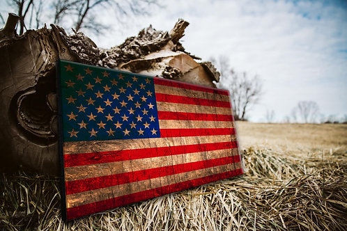 Stained American Wood Flag - Free Shipping