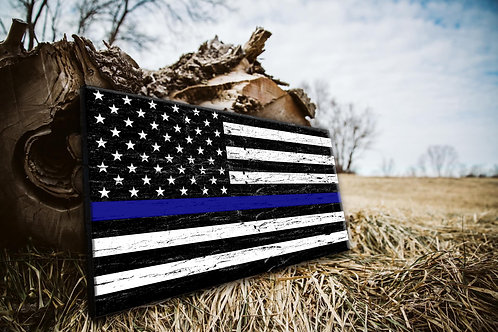 Blue Line Police Wood Flag - Free Shipping