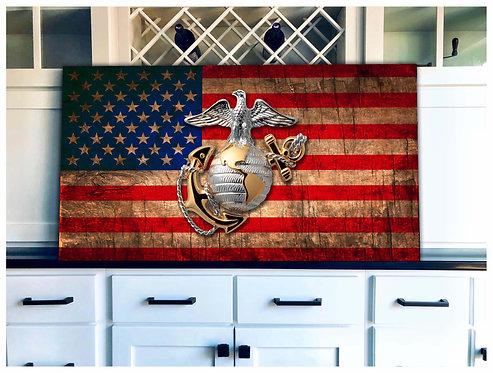 USMC Globe Wood Flag Art - Free Shipping