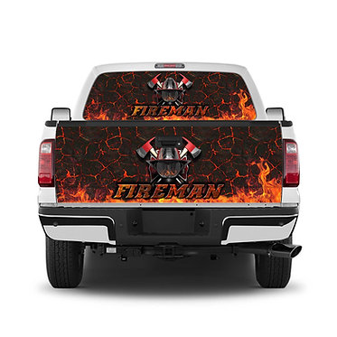 Fireman Helmet 2 Tailgate Wrap Window Decal