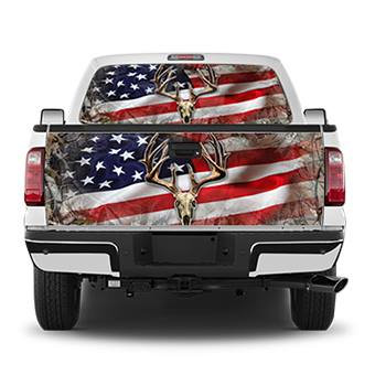 US Flag Rack Tailgate Wrap Window Decal