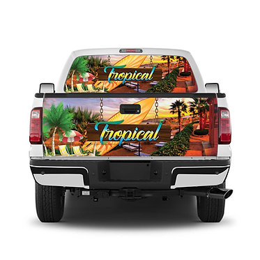 Tropical Tailgate Wrap Window Decal