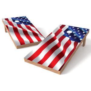 Waving American Flag Cornhole Wrap Decal
