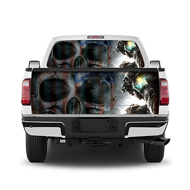 Skull Flag Tailgate Wrap Window Decal