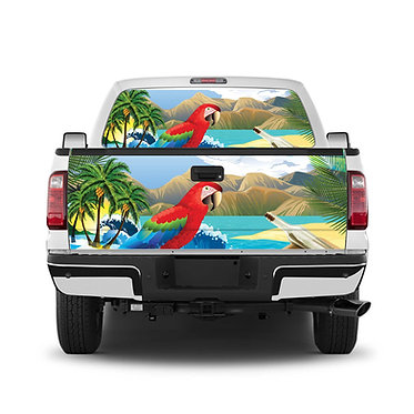 Tropical 3 Parrot Tailgate Wrap Window Decal