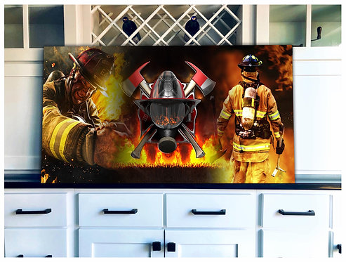 Firefighter Wood Flag Art - Free Shipping