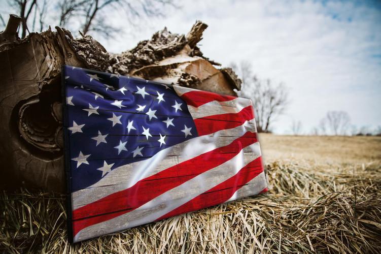 Wood American Flag Direct Print