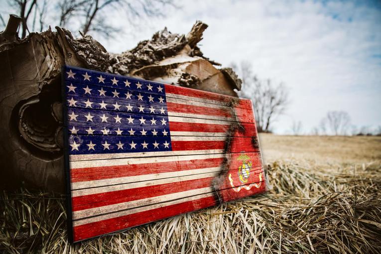 Wood Marines Flag Direct Print