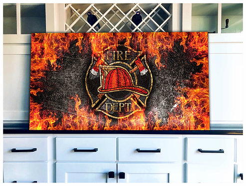 Fire Department Wood Flag Art - Free Shipping