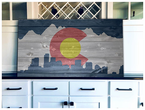Colorado Vintage Cityscape Flag Art - Free Shipping