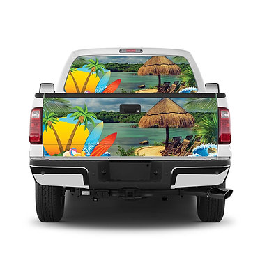 Tropical 4 Tailgate Wrap Window Decal