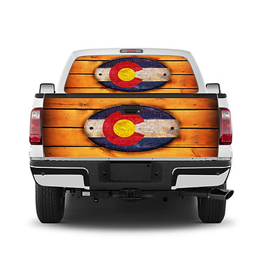 Colorado Wood Tailgate Wrap Window Decal