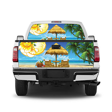Tropical 2 Beach Tailgate Wrap Window Decal