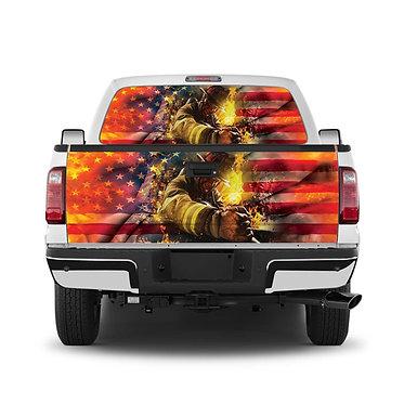 Fireman 8 Tailgate Wrap Window Decal