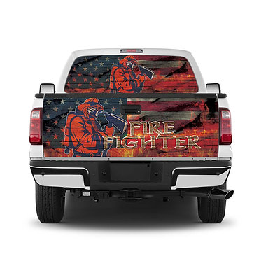 Fire Fighter Tailgate Wrap Window Decal