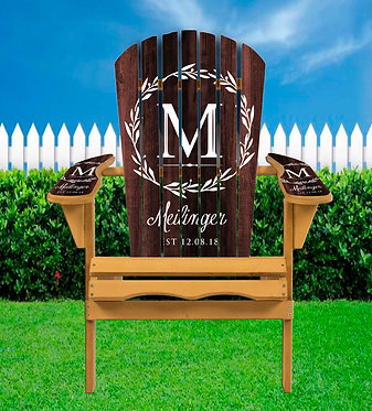 Wood Monogram Adirondack Chair Wrap - Personalize