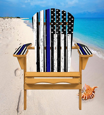 Police Blue Line Flag Adirondack Chair Wrap Decal