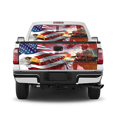 Eagle Flag Military Tailgate Wrap Window Decal