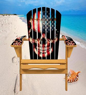 Patriotic Flat Skull Adirondack Chair Wrap Decal