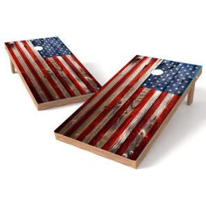 Grunge American Flag Cornhole Wrap Decal