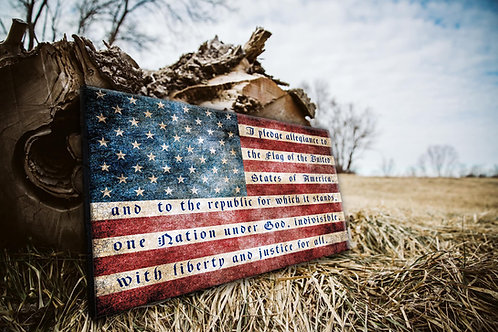 American Pledge Wood Flag - Free Shipping