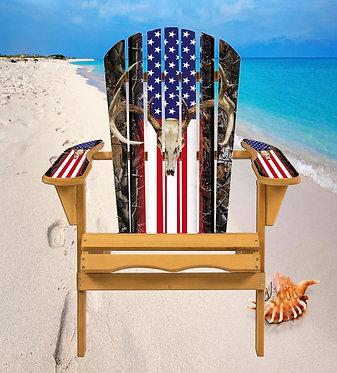 Deer Skull Flag Adirondack Chair Wrap Decal