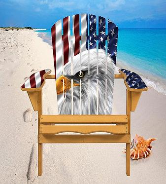 American Flag Bald Eagle Adirondack Chair Wrap Decal