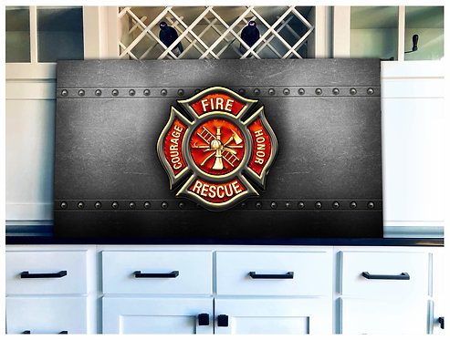 Courage Fire Honor Rescue Wood Flag - Free Shipping