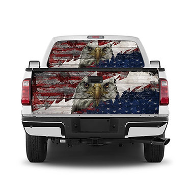 USA Flag 2 Tailgate Wrap Window Decal