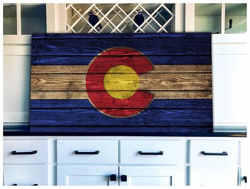 Colorado Flag Wood Art - Free Shipping