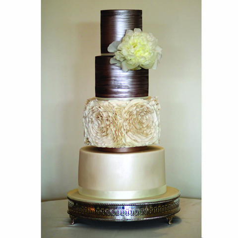 Taupe metallic wedding cake