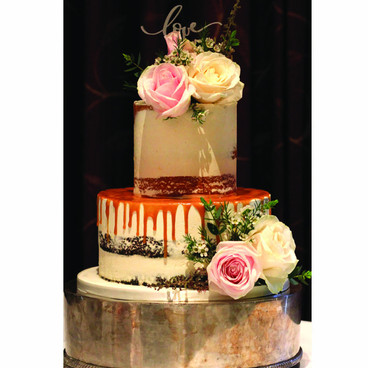 Drip semi naked wedding cake