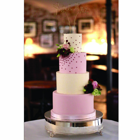 Pink and Ivory buttercream wedding cake