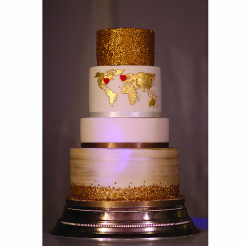 Map of the world wedding cake