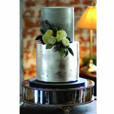 Silver metallic wedding cake
