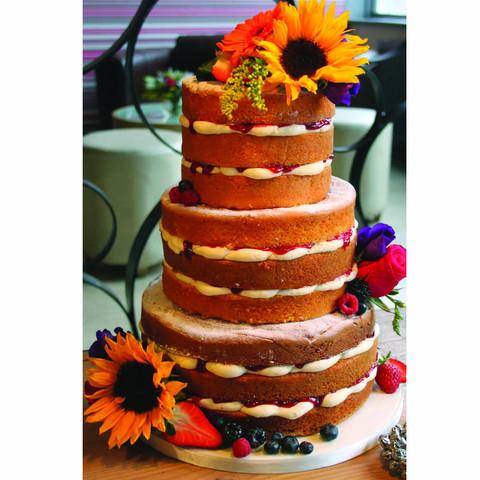 Sunflower naked wedding cake