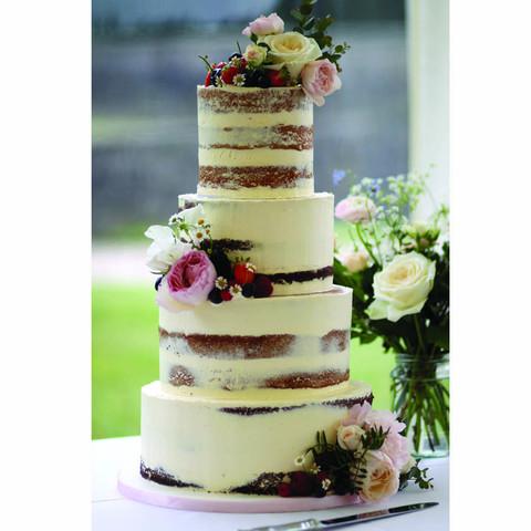 Summer fruits semi naked wedding cake