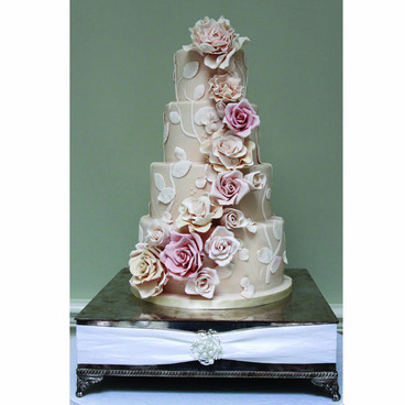 Blush pink rose wedding cake