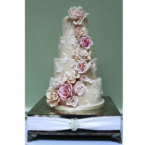Blush pink rose wedding cake
