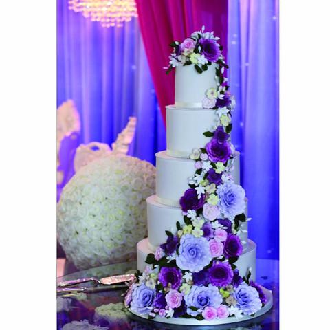 Floral swag wedding cake