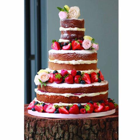 Strawberries & Cream naked wedding cake