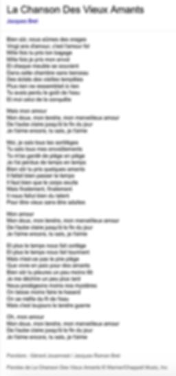 La chanson des vieux amants