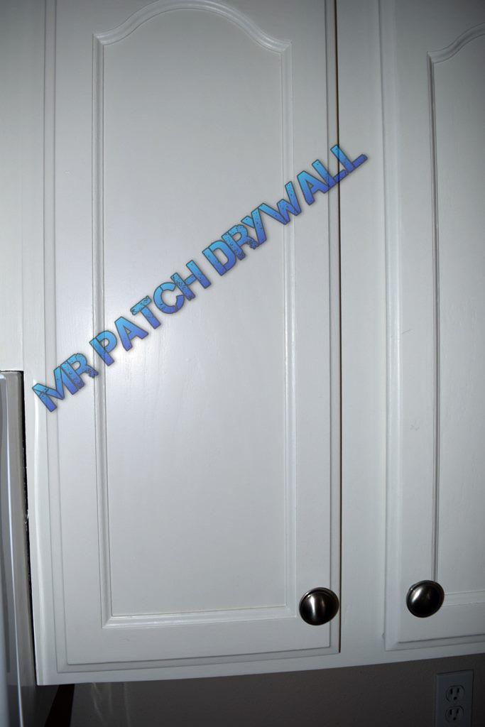 Painted kitchen cabinet door closeup
