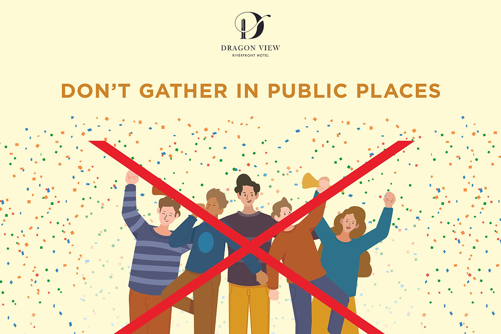 Cấm tụ tập nơi đông đúc theo quy định của chính phủ trong thời gian giãn cách xã