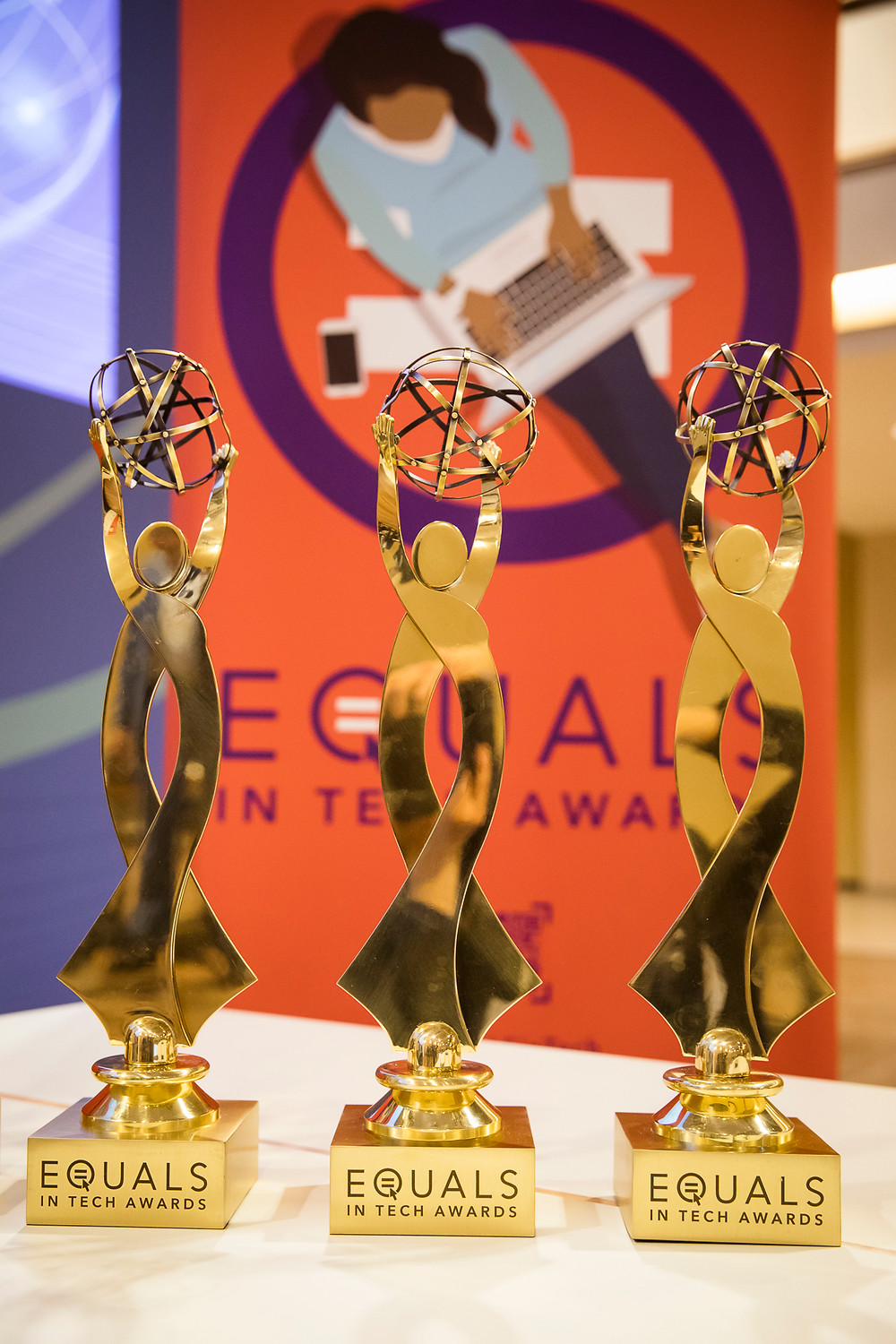 Row of three EQUALS in Tech Award trophies