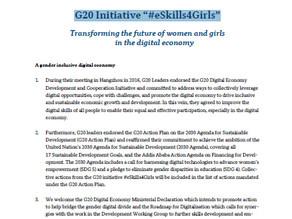 "G20 Initiative ""#eSkills4Girls"""