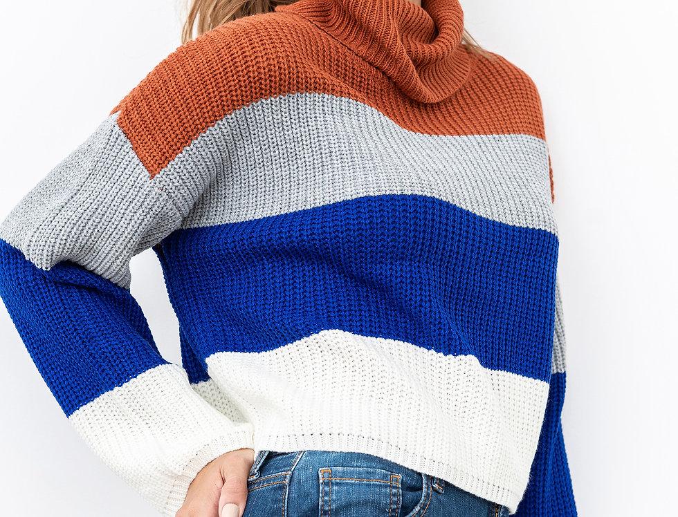 Sweater Rayas Cuello Tortuga