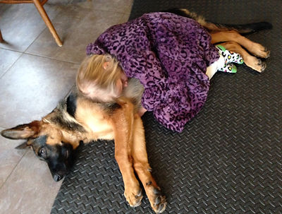 German Shepherd and Child Napping