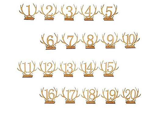 Wood antler table numbers