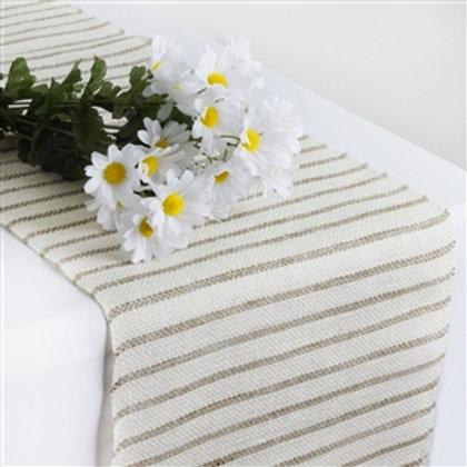 White and Grey Burlap Table Runner